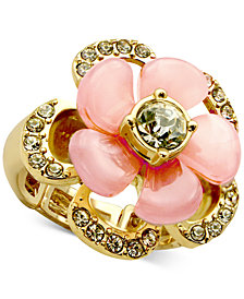 GUESS Gold-Tone Crystal & Resin Flower Statement Ring