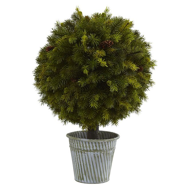 """Nearly Natural 23"""" Pine Ball in Iron Top"""