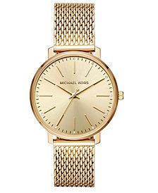 Michael Kors Women's Pyper Gold-Tone Stainless Steel Mesh Bracelet Watch 38mm