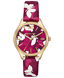 Michael Kors Women's Lexington Pink Camo Butterfly Leather Strap Watch 36mm