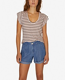 Ruby Striped Scoop-Neck Linen T-Shirt