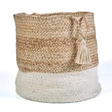 LR Home Natural Jute - Bottom Stripped Decorative Storage Basket