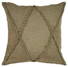 Criss Cross Olive Throw Pillow