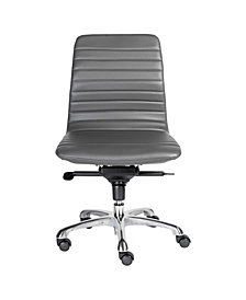Everett Armless Low Back Office Chair with Polished Aluminum Base