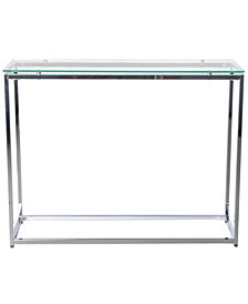 Sandor Long Conosole Table with Tempered Glass Top and Chrome Frame