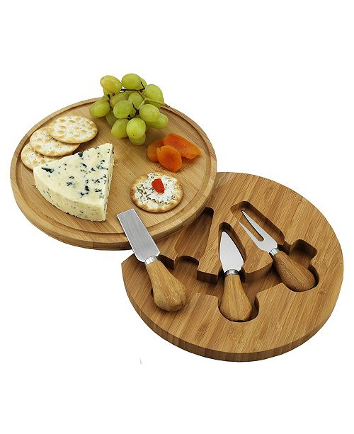 Picnic At Ascot Feta Bamboo Cheese Board Set with 3 Tools