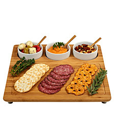 Picnic at Ascot Entertainer Bamboo Cheese Board Platter with 3 Ceramic Bowls