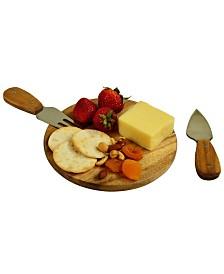 Picnic at Ascot Bristol Acacia Cheese Board and Knife Set in Natural Gift Box