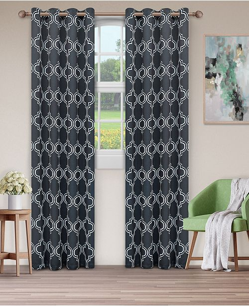 "Superior Soft Quality Woven, Bohemian Trellis Blackout Thermal Grommet Curtain Panel Pair, Set of 2, 52"" x 108"""
