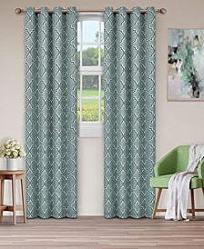 "Soft Quality Woven, Bohemian Trellis Blackout Thermal Grommet Curtain Panel Pair, Set of 2, 52"" x 108"""