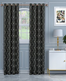 "Soft Quality Woven, Imperial Trellis Blackout Thermal Grommet Curtain Panel Pair, Set of 2, 52"" x 108"""