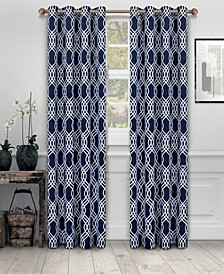"Soft Quality Woven, Ribbon Collection Blackout Thermal Grommet Curtain Panel Pair, Set of 2, 52"" x 108"""