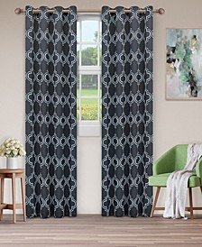 "Soft Quality Woven, Bohemian Trellis Blackout Thermal Grommet Curtain Panel Pair, Set of 2, 52"" x 84"""