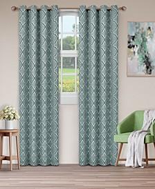 "Soft Quality Woven, Bohemian Trellis Blackout Thermal Grommet Curtain Panel Pair, Set of 2, 52"" x 84"""