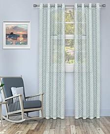 "Semi-Sheer Honeycomb Printed Curtain Panels, Set of 2, 52"" x 96"""