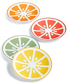 Martha Stewart Collection Citrus Melamine Appetizer Plates, Set of 4, Created for Macy's