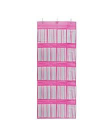 Kids Over The Door 16 Pocket Shoe Organizer in Painterly Pink Stripe