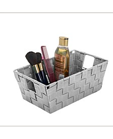 Small Woven Storage Shelf Bin in Gray