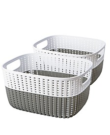 2 Pack 2-Tone Decorative Small Storage Basket in Gray