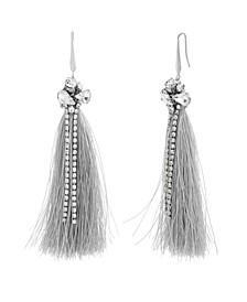 Women's White Rhinestone Silver-Tone Gray Tassel Earrings