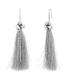 Catherine Malandrino Women's White Rhinestone Silver-Tone Gray Tassel Earrings