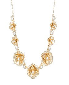 Women's Flower Style White Rhinestone Yellow Gold-Tone Cluster Necklace