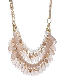Catherine Malandrino Women's Pink Rhinestone Yellow Gold-Tone Double Layered Chain Necklace