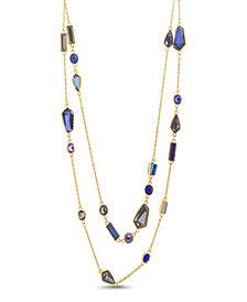 Catherine Malandrino Women's Multicolored Rhinestone Yellow Gold-Tone 2 Layer Rolo Chain Necklace