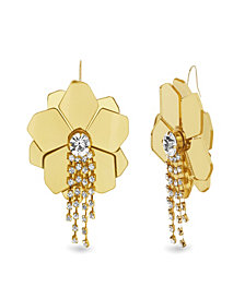 Catherine Malandrino Women's White Rhinestone Flower Design Yellow Gold-Tone Hook Earrings