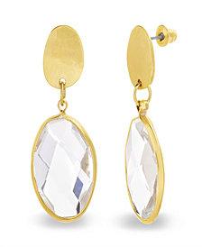 Catherine Malandrino Women's White Rhinestone Oval Shaped Yellow Gold-Tone Drop Earrings