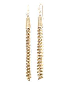Catherine Malandrino Women's Pink Rhinestone Chain Tassel Style Yellow Gold-Tone Dangle Earrings