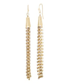 Catherine Malandrino Women's Pink Rhinestone Chain Tassel Style Yellow Gold-Tone Dangle Earrings