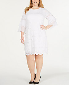 Alfani Plus Size Ruffle-Cuff Floral-Lace Dress, Created for Macy's