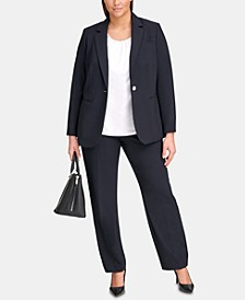 Plus Size One-Button Jacket & Straight-Leg Pants