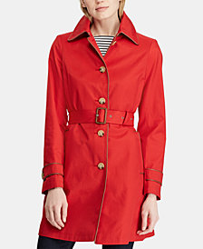 Lauren Ralph Lauren Faux-Leather-Trim Belted Trench Coat