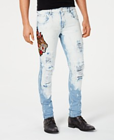 Reason Men's Vintage Revival Embroidered Denim Jeans