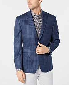Men's Classic-Fit Blue/Navy Check Sport Coat