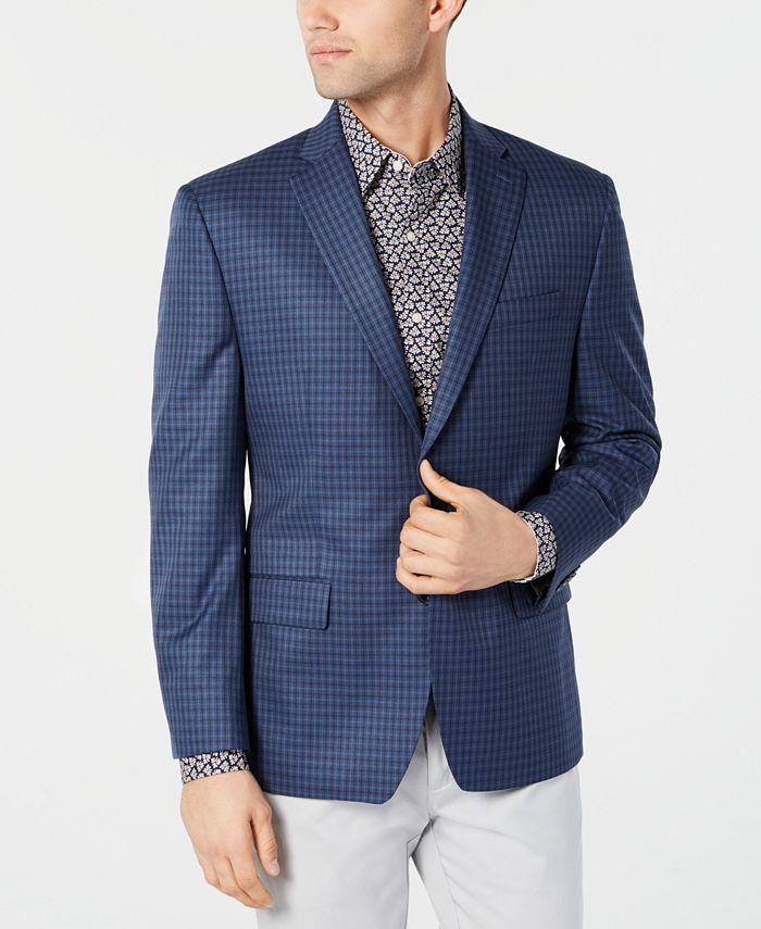 Michael Kors - Men's Classic-Fit Blue/Navy Check Sport Coat