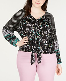 Style & Co Plus Size Mixed-Print Tie-Front Top, Created for Macy's