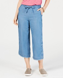 Style & Co Petite Wide Button-Leg Cropped Jeans, Created for Macy's