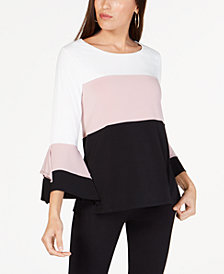 Alfani Petite Colorblocked Square-Sleeve Top, Created for Macy's