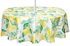 "Bardwil Lemons 70"" Round Indoor/Outdoor Umbrella Tablecloth"