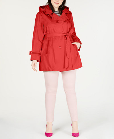 Celebrity Pink Trendy Plus Size Hooded Trench Coat