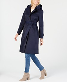 Anne Klein Belted Hooded Water-Resistant Trench Coat