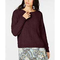 Macys deals on I.N.C. Womens Cable-Knit Chenille Sweater