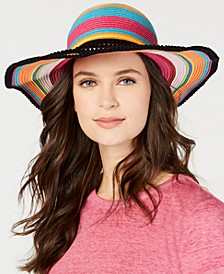 Rainbow Pom Pom-Trim Floppy Hat