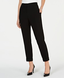 Kasper Cuffed Straight-Leg Pants
