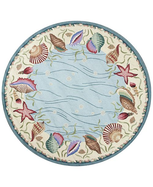"""Kas CLOSEOUT! Colonial Ocean Surprise 1804 Blue/Ivory 7'6"""" Round Area Rug"""