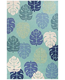 KAS Harbor Palms 4228 Turquoise 2' x 3' Indoor/Outdoor Area Rug