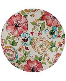 """KAS Sonesta Floral Splash 2039 Sand 7'6"""" Round Area Rug"""